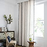 Smithoom 1 panel Bohemia cortina bolsillo para barra clásico Boho patrones de algodón lino cortinas para dormitorio sala de estar comedor balcón cocina beige 150 x 200 cm