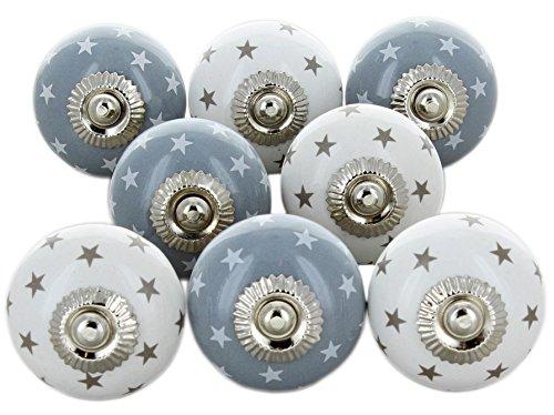 Set von 8 grau & weiß Sterne Keramik Türknauf, Vintage Shabby Chic Schrank Schublade Pull Griffe von G Decor