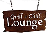osters muschel-sammler-shop verrostetes Garten-Metallschild zum Hängen Grill & Chill Lounge BBQ - ulkig und originell zum aufhängen an Ketten - das Schild für den Garten -