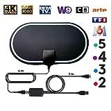 KafooStore Antenne TV Intérieur Puissante, TNT Numérique avec Amplificateur de Signal, Portée de 200 KM, Antenne TNT Haute Performance Ultra HD, 4K 1080P