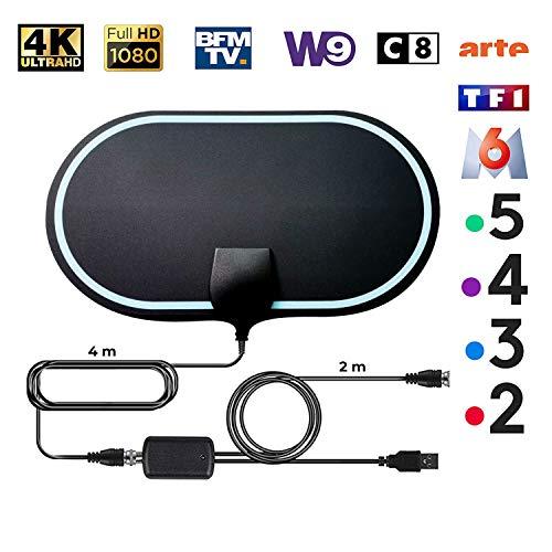 KafooStore Antenne TV Intérieur Puissante, TNT Numérique avec Amplificateur de Signal, Antenne TNT Haute Performance Ultra HD, 4K 1080P