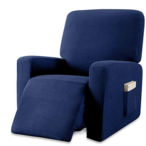 Granbest Premium Water Repellent Recliner Chair Cover High Stretch Jacquard Fabric Recliner Slipcover with Pockets (Recliner, Navy Blue)