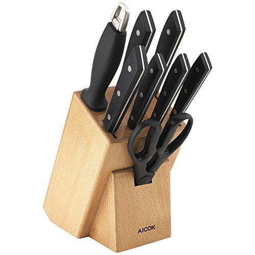 Aicok knife set, Professional 9-Piece Kitchen Knife Set with Wooden Block, Germany High Carbon Stainless Steel Cutlery Knife Block Set