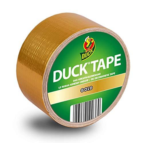 DUCK TAPE 100-36 Gewebeband Gold – Farbiges Klebeband für innen & außen – Panzertape zum Dekorieren, Basteln & Verschönern – 48mm x 9,1m