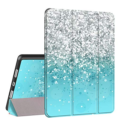 iPad 10.2 7th Generation Case 2019, Rossy PU Leather TPU Shock Trifold Stand Folio Smart Cover with Auto Wake/Sleep & Pencil Holder for Apple iPad 7th Gen 10.2 inch,Blue Glitter
