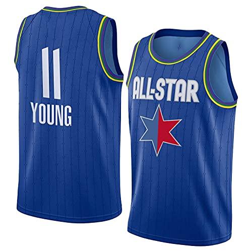 DFKGL Männer Basketball-Trikots - 2020 All-Star Atlantá Háwks Tráe Yóung # 11 Basketball-Jersey, Besticktes Top, für Partys, Geburtstagsgeschenke für Erwachsene, S-2XL Blue-XXL