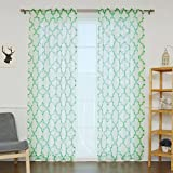 Best Home Fashion Closeout Faux Sheer Gauzy Linen Reverse Moroccan Print Curtains – Rod Pocket – Green – 52' W x 84' L – (Set of 2 Panels)
