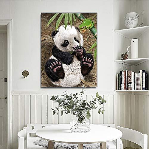 Panda, schattig, bamboe, dier, foto, kunstdruk op canvas, voor woonkamer, decoratie, zonder lijst
