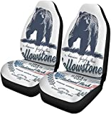 YAOAIAI Idaho Grizzly Bear National Park Yellowstone Blue Color Montana Set of 2 for Cars Front Saddle Blanket Universal Fit for Vehicle Sedan SUV and Truck Automotive Interior-Color 9