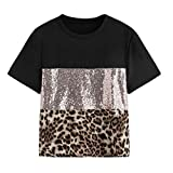 OPAKY Moda para Mujer Patchwork Estampado de Leopardo Manga de Lentejuelas Camiseta Blusa Informal Camiseta Mangas de Corto para Mujer con Lentejuelas Doble Cara Holgada con Brillo para Mujer