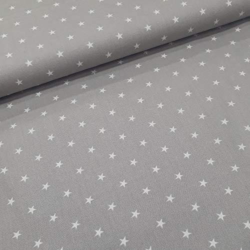 Schickliesel Baumwollstoff Meterware Weiße Sterne (grau)