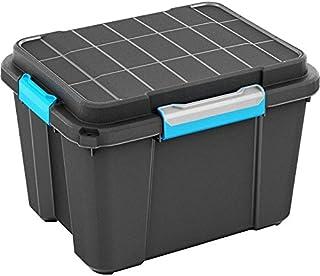 CURVER Caja de almacenaje plástico, Scuba Box, negro/azul, M