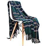 JUDYBRIDAL Plaid Chenille Throw Blanket Extra Soft Blanket All-Season Dual-Sided Home Decor Blankets with 3 Inches Tassels for Bed Sofa Couch Chair 50' W x 67' L Multi-Colored(Green)