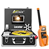 Sewer Camera 100ft with Locator & Receiver, 512Hz Sonde Transmitter Plumbing Camera with DVR Recorder, Inspection Cam with 7' LCD Monitor (8 GB SD Card Included) (100ft/30m)