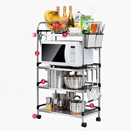 KUN PENG SHOP Acciaio inossidabile Forno a microonde Piano piano Multipiano bagagli Forno Rack da cucina Rack A+ ( dimensioni : 4 layers 60 cm# 1 )