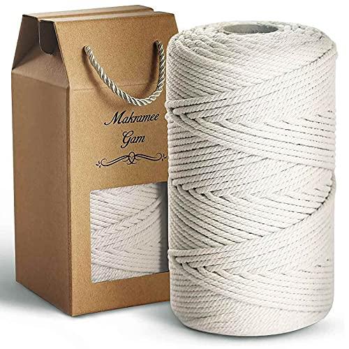 LEILEI Makramee Garn 4mm x 150m, 100% Natur Baumwollgarn, Baumwollkordel weiß für DIY Handwerk