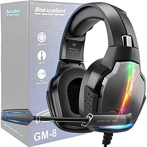 ゲーミングヘッドセット PS4ヘッドセット PC用ヘッドセット 7.1chサラウンドサウンド ソフト高精度マイク ノイズ低減 ソフトイヤーパッド 90度回転可能 RGBライト PS5、PS4、Switch、PCなどに対応 有線 重低音3.5mm端子