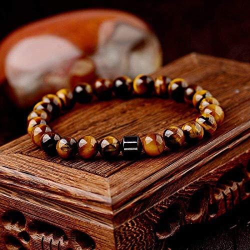 SUCICI Pulsera de Piedra Mujer, 7 Chakra Tigre Natural Ojo de Piedra Perlas elástico Brazalete marrón Pulsera Moda Afortunado encantamiento joyería para Mujeres Hombres cumpleaños Regalo