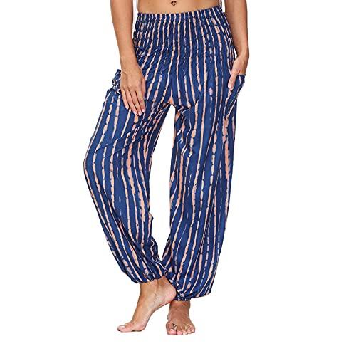GANBADIE - Pantalones de yoga para mujer, estilo informal, de moda, hippie y flores, talla alta Harem Pants...