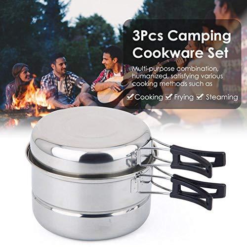 Rvest 3-teiliges Camping-Kochgeschirr-Set Tragbares Kochtopf- Und Pfannenset Aus Edelstahl Für Den Außenbereich Für Picknick-Camping-Wanderrucksäcke