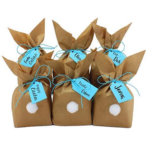 Papierdrachen 12 Coniglietti pasquali Fai da Te e da riempire a Piacere - Regalo Creativo per Pasqua con 12 Sacchetti di Carta, Cordoncino e Pompon - per Giovane