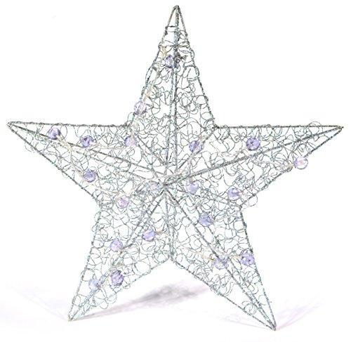 LED Leuchtstern, Weihnachtsstern Fenster 50 cm Metall Silber 20 LED Blau, Weihnachtsdeko Fenster, Dekoration Weihnachten Weihnachtsbeleuchtung Innen Fenster