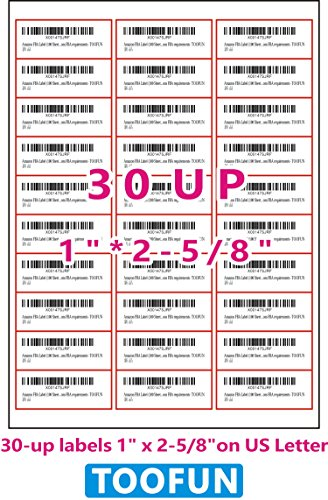 TOOFUN Amazon FBA Label (100 Sheets, 3000 Labels) 30-up Labels 1