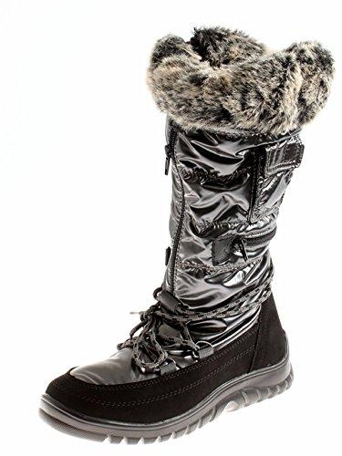 ANNA FIELD stivali scarpe donna stivali invernali Stivali stivali neve - nero/grigio, 37 EU