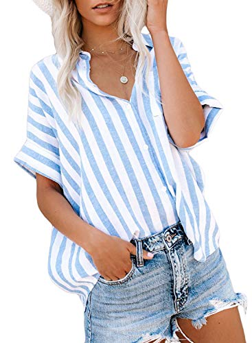 HOTAPEI Womens Summer Casual V Neck Striped Cuffed Sleeve Button Down Collar Chiffon Shirts Tops Blouses for Women Fashion 2020 Short Sleeve Large