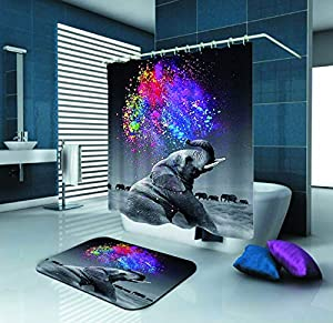 SARA NELL Shower Curtain,Elephant Rainbow Colorful Art,72X72In Polyester Fabric Shower Curtain Set with 15.7X23.6In Flannel Non-Slip Floor Doormat Bath Rugs