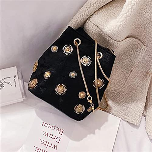 Shawari Bolsos de Mujer Bolso de Mujer Bolso de un Hombro Bolso de Mensajero de Terciopelo Bolso de Cubo de Cadena de Tela de Lana Bolso pequeño de Mujer