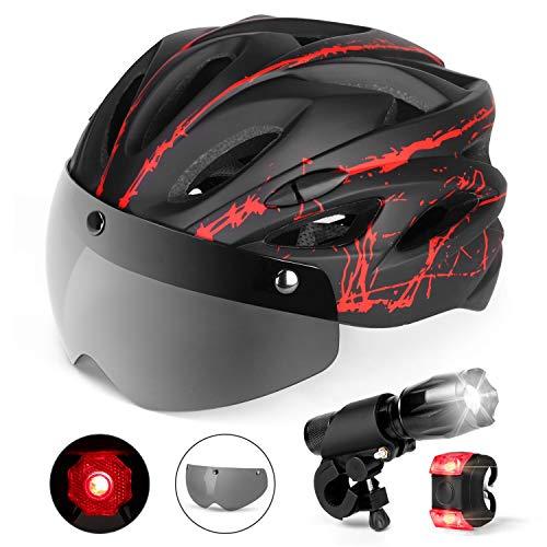 Odoland Casco de bicicleta con gafas desmontables, faro delantero de bicicleta y luz trasera para…