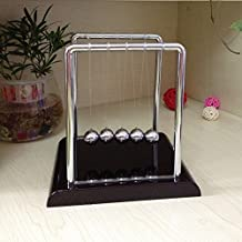 SELLBINDING Newton's Cradle Balance Balls,Science Kinetic Energy Sculpture Science Psychology Puzzle Desk Fun Gadget with Black Wooden Base