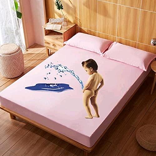 XGguo Protector de colchón Transpirable.Rizo Bambú. Sábana de Cama de algodón Impermeable de Color sólido-Rosa_1.0x2.0m