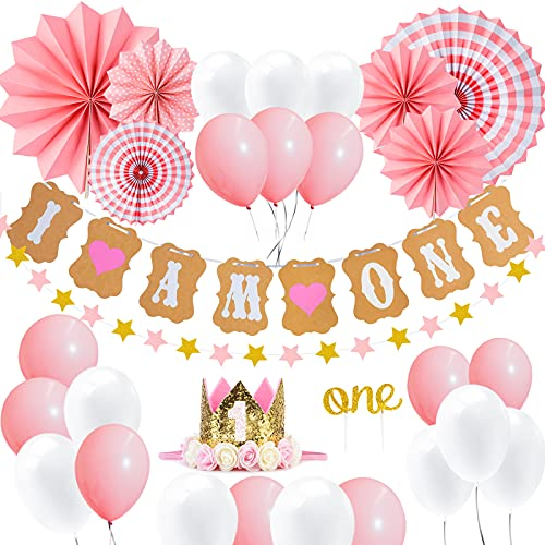 1st Girl Birthday Decoration Kit, Baby Pink Theme Frist Party Set, Including 1st Shining Crown, Cake Topper-One, IAmOne and Star Banner, Hanging Paper Fan Flowers, White and Pink Balloons