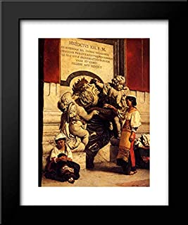 Fountain by The Cathredral of St. Peter in Rome 15x18 Framed Art Print by Leon Joseph Florentin Bonnat