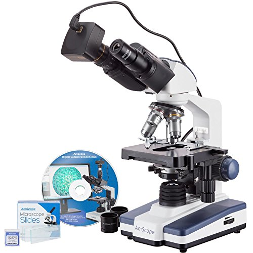 AmScope 40X-2500X LED Binocular Compound Microscope with 50pc Blank Slides and 5MP Camera