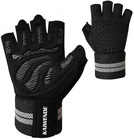 Men Or Women Gym Workout Gloves with Long Wrist Wrap Support Padded Ventilated Sweat Absorbing product image