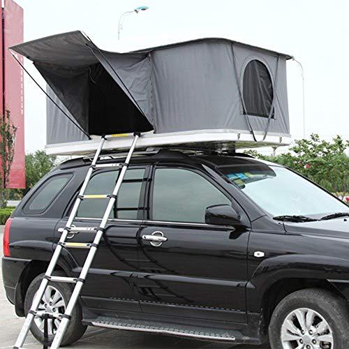 XPHW Autodachzelt, Camping Zelt, 2-3 Erwachsene wasserdichte Autodachzelt ABS Shell Markise Camping Ausrüstung Mit Klappleiter Und Led-leuchten