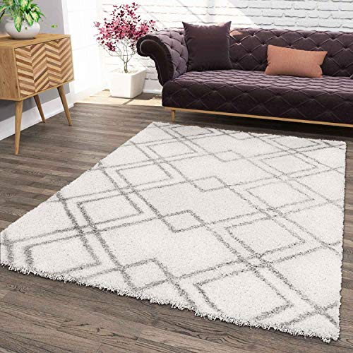 VIMODA Hochflor Teppich, Weicher Wohnzimmer Shaggy Skandinavischer Stil Rauten, Maße:80x150 cm