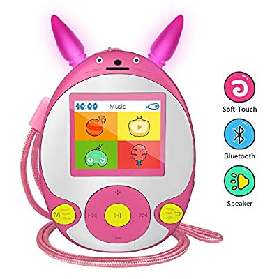 Wiwoo Bluetooth MP3 Player for Kids, 8GB Lossless Portable Music Player with Speakers, FM Radio, Voice Recorder, Video,Pictures, Kids Friendly MP3 Player with Cartoon Pattern Support Up to 128GB, Pink