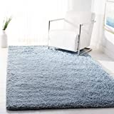 Safavieh Florence Shag Collection SGF412B Handmade Solid 2-inch Thick Area Rug, 8' x 10', Light Blue