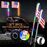 Nirider 2PCS 3ft LED Whip Lights with Turn/Brake/Reverse Light with Flag Pole Remote Control Spiral RGB Chase Light LED Lighted Antenna Whip for UTV, ATV, RZR, Can-Am, Dune Buggy, Offroad, Truck, Boat