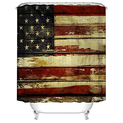 Fangkun Duschvorhang-Set, amerikanische Flagge, Polyester, wasserdicht, 12 Duschvorhänge, 183 x 183 cm