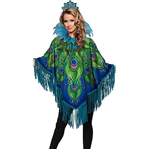 Quenny Halloween pumpkin lantern scary shawl,women skull stage performance costume,Halloween dress up csotume. (Peacock shawl, XXX-Large)