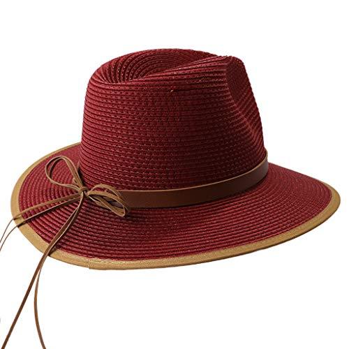 YOYOHO Sombrero de Visera de Estilo británico para Mujer, Lazo, Lazo, Color de Contraste, Gorra de Playa Fedora - Rojo Vino