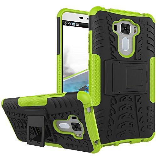 TiHen Handyhülle für Asus Zenfone 3 Laser ZC551KL Hülle, 360 Grad Ganzkörper Schutzhülle + Panzerglas Schutzfolie 2 Stück Stoßfest zhülle Handys Tasche Bumper Hülle Cover Skin mit Ständer -Grün