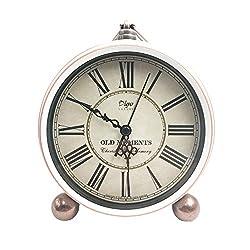 JUSTUP 5.2 Classic Retro Clock, European Style Vintage Silent Desk Alarm Clock Non Ticking Quartz Movement Battery Operated, HD Glass Lens, Easy to Read (White)
