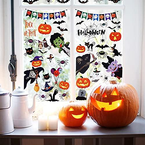 Huarumei Halloween Aufkleber Deko Fenster Sticker, 55 Stk/Set Fensterbilder Kinder Fenstersticker Wasserdichtes Fensteraufkleber Wandaufkleber, Halloween Fensterdeko Haus Tür Wand Deko