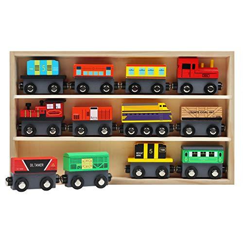 Kurtzy Tren de Madera Magnético con Caja de Almacenaje (Pack de 12) Locomotoras Educativas para Chicos y Chicas 3 + Años – Set Tren Madera Compatible con la Mayoría de Las Marcas de Vías de Tren